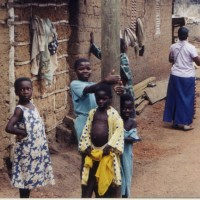 Kids in a village near Cape Coast Ghana, 2001, copyright Bryan Thomas Schmidt